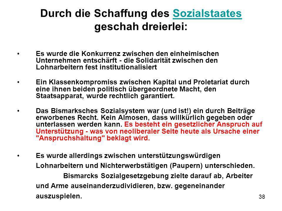 38 Durch die Schaffung des Sozialstaates geschah dreierlei:Sozialstaates Es wurde die Konkurrenz zwischen den einheimischen Unternehmen entschärft - d