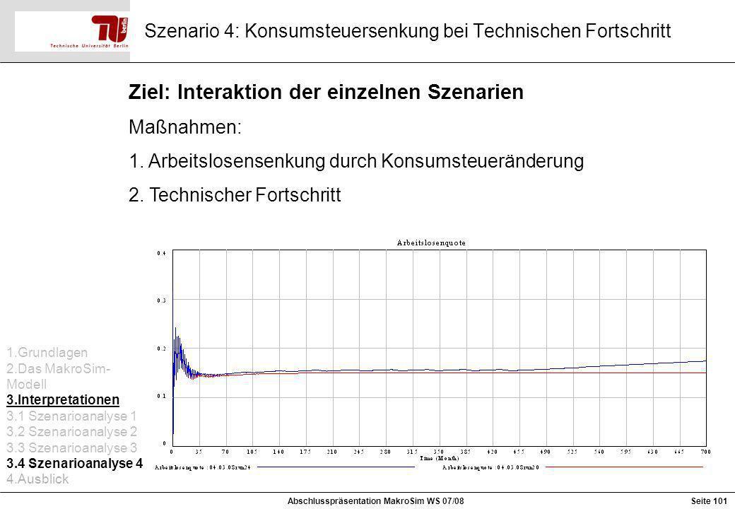 Szenario 4: Konsumsteuersenkung bei Technischen Fortschritt Ziel: Interaktion der einzelnen Szenarien Maßnahmen: 1. Arbeitslosensenkung durch Konsumst