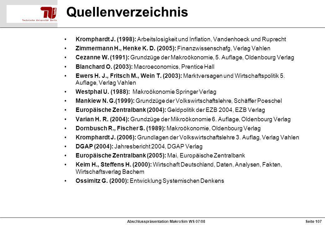 Quellenverzeichnis Kromphardt J. (1998): Arbeitslosigkeit und Inflation, Vandenhoeck und Ruprecht Zimmermann H., Henke K. D. (2005): Finanzwissenschaf