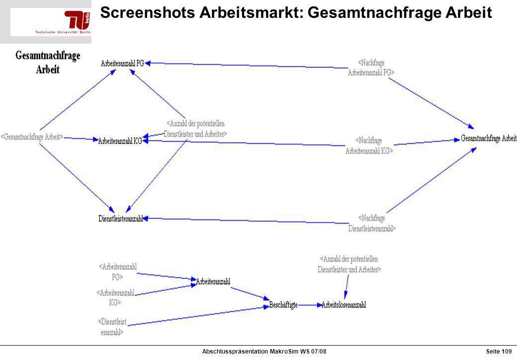 Screenshots Arbeitsmarkt: Gesamtnachfrage Arbeit Abschlusspräsentation MakroSim WS 07/08Seite 109
