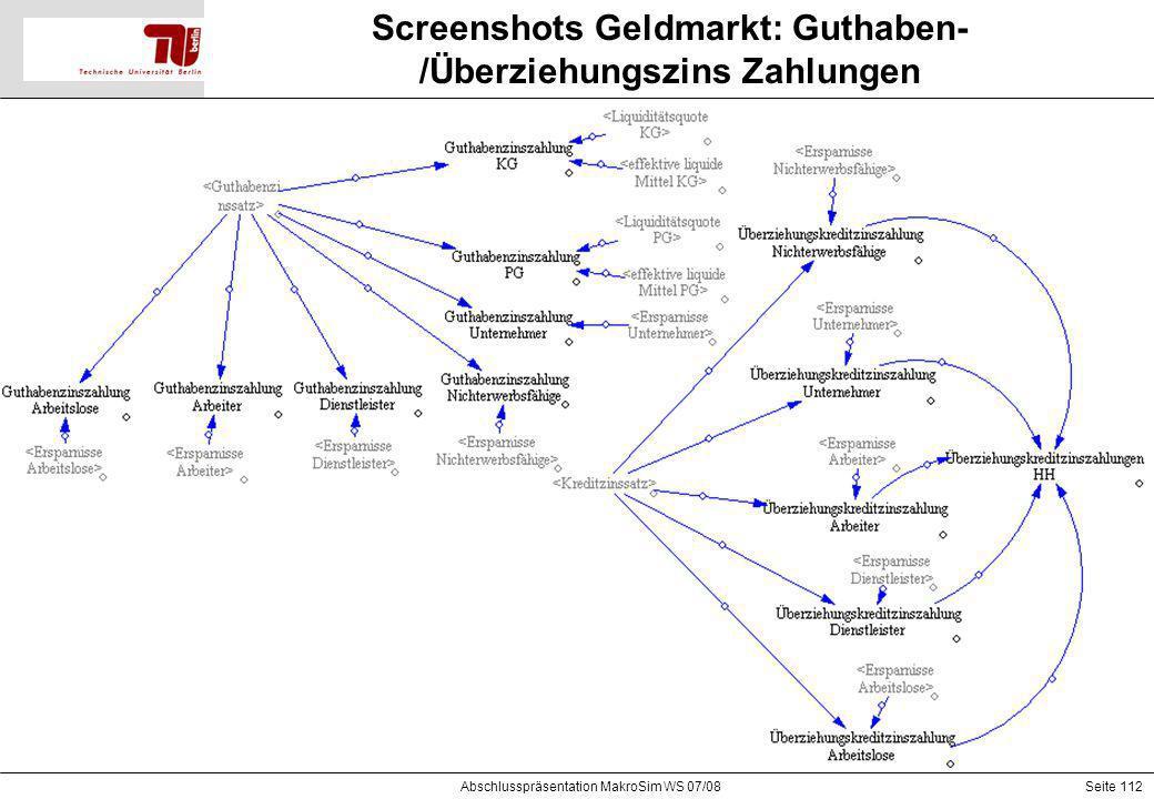 Seite 112 Screenshots Geldmarkt: Guthaben- /Überziehungszins Zahlungen Abschlusspräsentation MakroSim WS 07/08