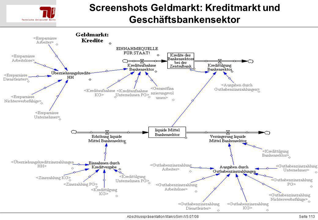 Seite 113 Screenshots Geldmarkt: Kreditmarkt und Geschäftsbankensektor Abschlusspräsentation MakroSim WS 07/08