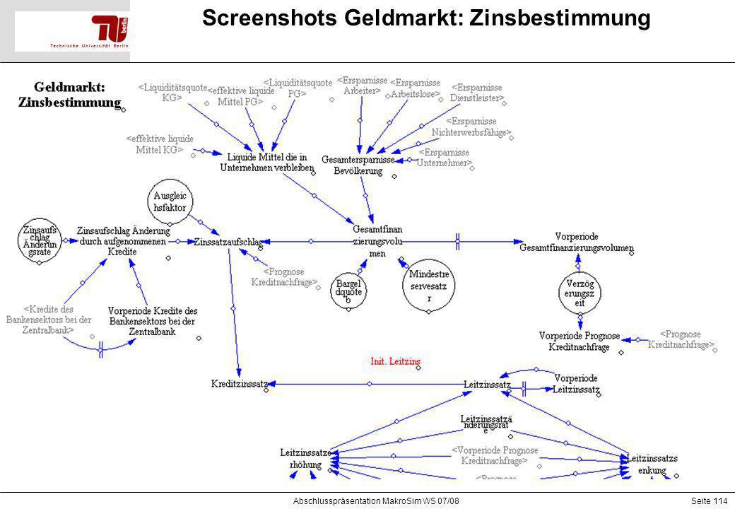 Seite 114 Screenshots Geldmarkt: Zinsbestimmung Abschlusspräsentation MakroSim WS 07/08