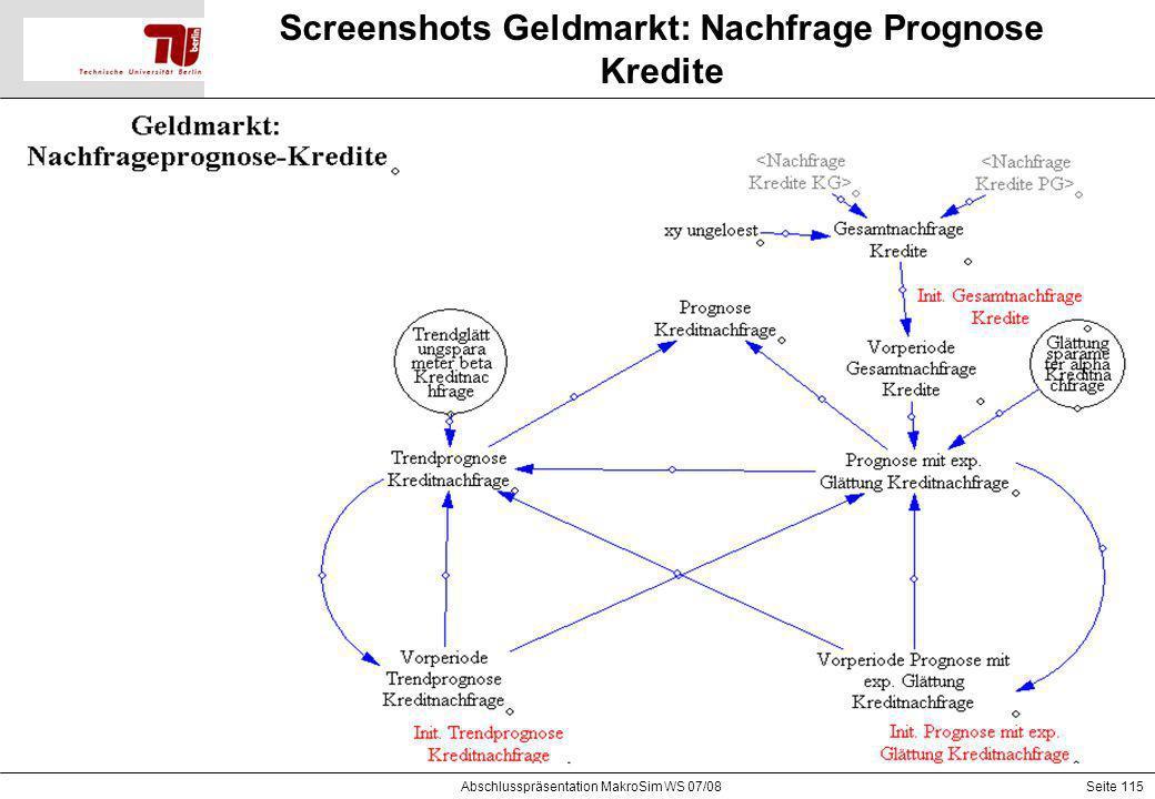 Seite 115 Screenshots Geldmarkt: Nachfrage Prognose Kredite Abschlusspräsentation MakroSim WS 07/08