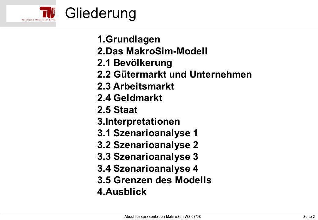 Gliederung 1.Grundlagen 2.Das MakroSim-Modell 2.1 Bevölkerung 2.2 Gütermarkt und Unternehmen 2.3 Arbeitsmarkt 2.4 Geldmarkt 2.5 Staat 3.Interpretation