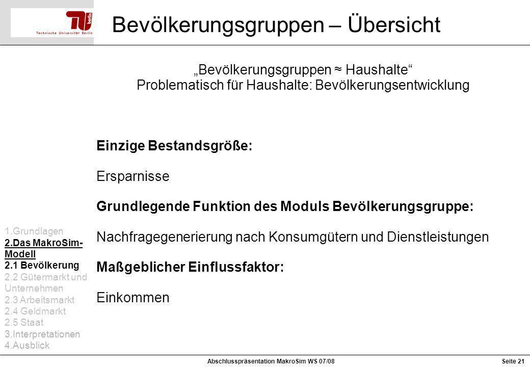 Seite 21 Bevölkerungsgruppen – Übersicht Abschlusspräsentation MakroSim WS 07/08 Bevölkerungsgruppen Haushalte Problematisch für Haushalte: Bevölkerun