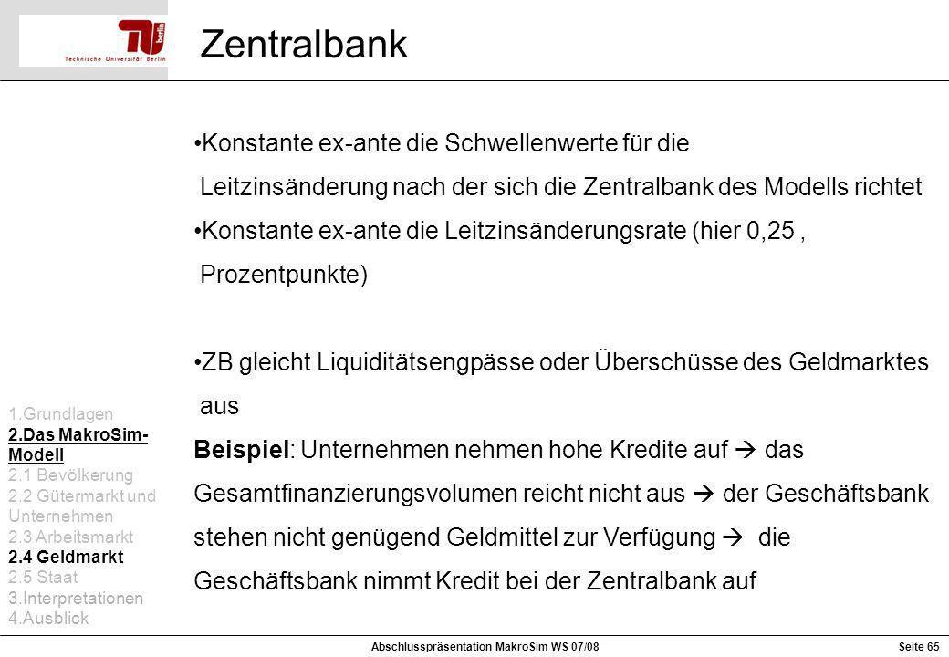Zentralbank Konstante ex-ante die Schwellenwerte für die Leitzinsänderung nach der sich die Zentralbank des Modells richtet Konstante ex-ante die Leit