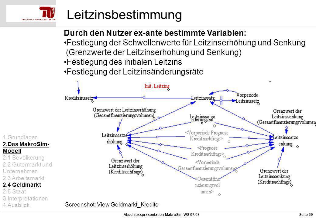 Leitzinsbestimmung Screenshot: View Geldmarkt_Kredite Durch den Nutzer ex-ante bestimmte Variablen: Festlegung der Schwellenwerte für Leitzinserhöhung