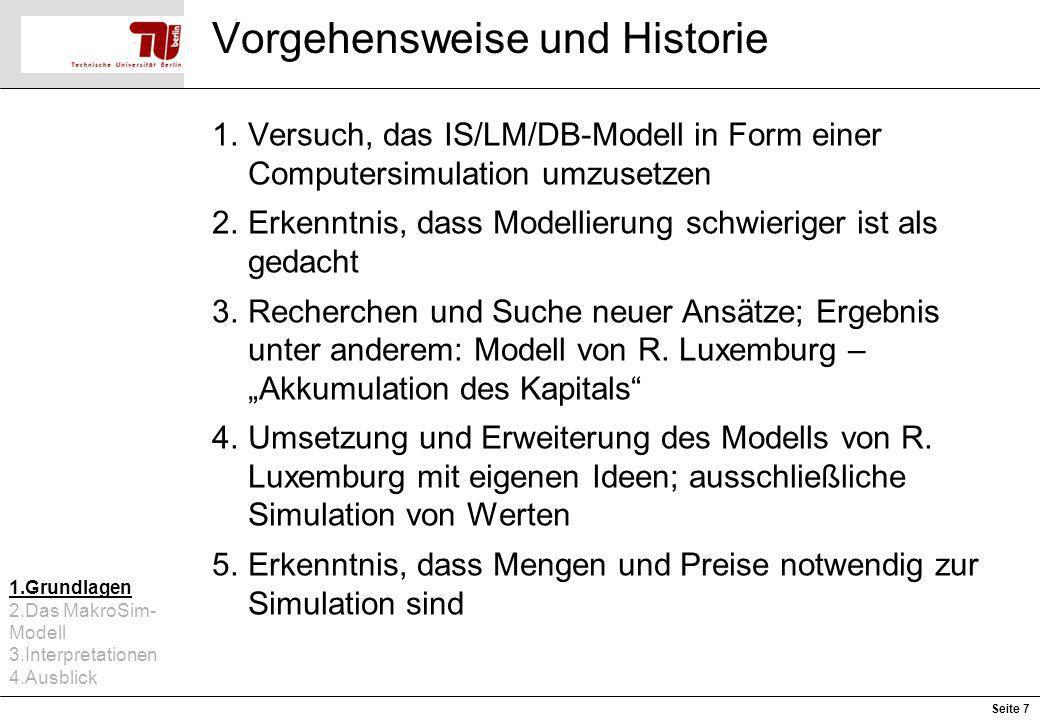 Vorgehensweise und Historie 1.Versuch, das IS/LM/DB-Modell in Form einer Computersimulation umzusetzen 2.Erkenntnis, dass Modellierung schwieriger ist