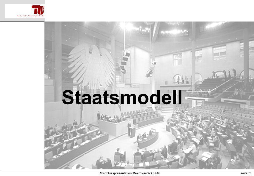 Staatsmodell Abschlusspräsentation MakroSim WS 07/08Seite 73