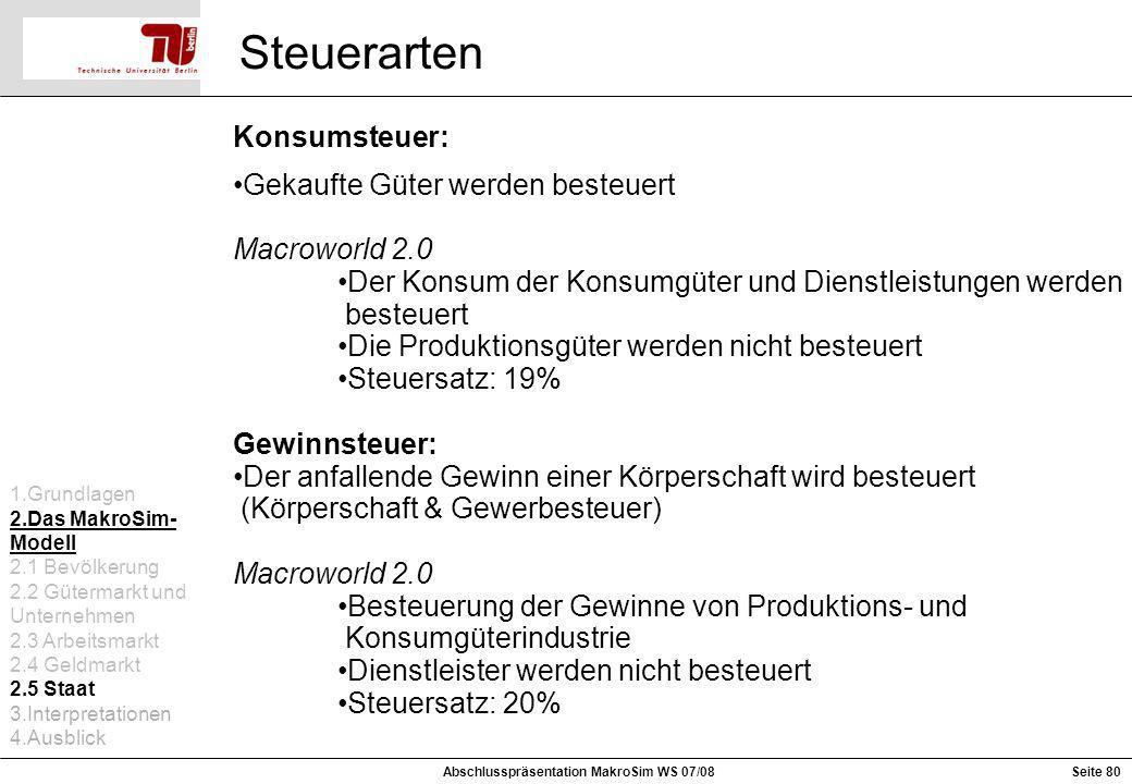 Konsumsteuer: Gekaufte Güter werden besteuert Macroworld 2.0 Der Konsum der Konsumgüter und Dienstleistungen werden besteuert Die Produktionsgüter wer