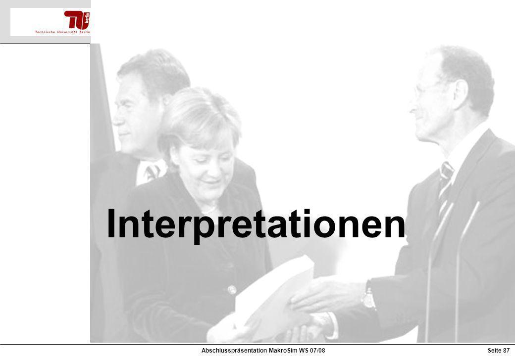 Interpretationen Abschlusspräsentation MakroSim WS 07/08Seite 87