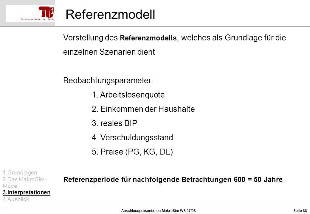 Referenzmodell Vorstellung des Referenzmodells, welches als Grundlage für die einzelnen Szenarien dient Beobachtungsparameter: 1. Arbeitslosenquote 2.