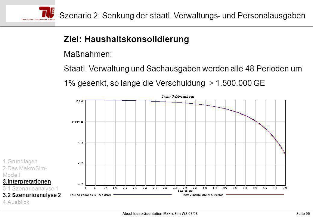 Szenario 2: Senkung der staatl. Verwaltungs- und Personalausgaben Ziel: Haushaltskonsolidierung Maßnahmen: Staatl. Verwaltung und Sachausgaben werden
