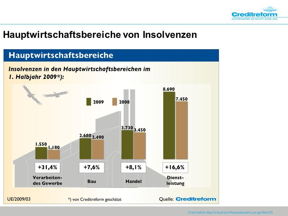 Creditreform Bad Kreuznach/Kaiserslautern Langenfeld KG Hauptwirtschaftsbereiche von Insolvenzen