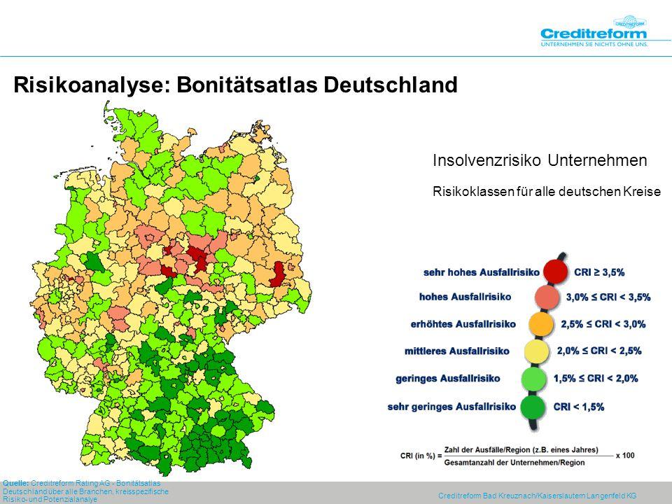 Risikoanalyse: Bonitätsatlas Deutschland Quelle: Creditreform Rating AG - Bonitätsatlas Deutschland über alle Branchen, kreisspezifische Risiko- und Potenzialanalye Insolvenzrisiko Unternehmen Risikoklassen für alle deutschen Kreise