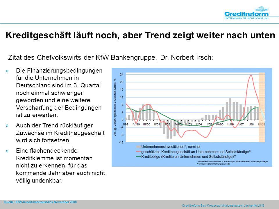 Creditreform Bad Kreuznach/Kaiserslautern Langenfeld KG Kreditgeschäft läuft noch, aber Trend zeigt weiter nach unten »Die Finanzierungsbedingungen für die Unternehmen in Deutschland sind im 3.