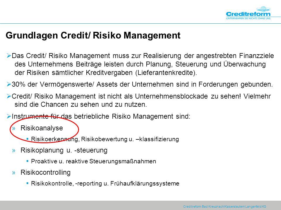 Creditreform Bad Kreuznach/Kaiserslautern Langenfeld KG Grundlagen Credit/ Risiko Management Das Credit/ Risiko Management muss zur Realisierung der a