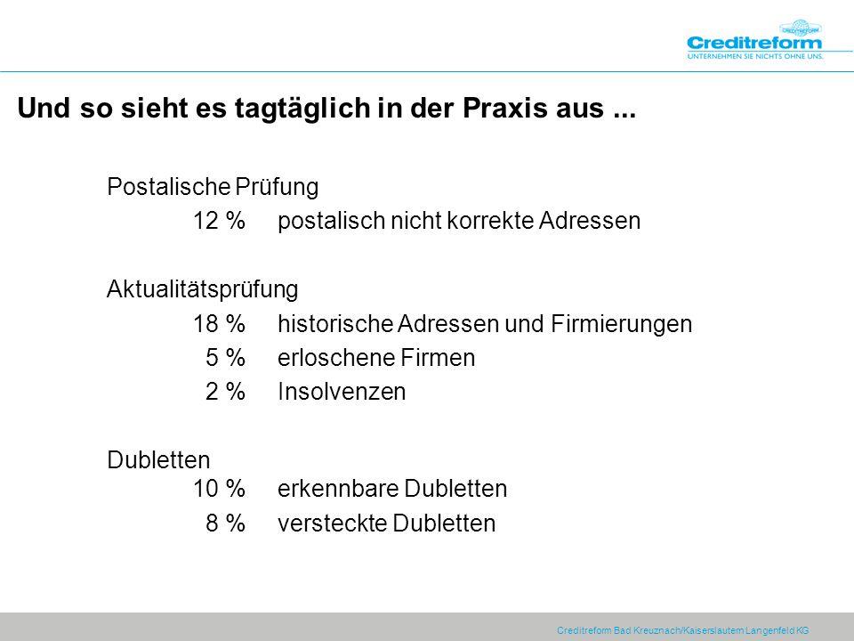 Creditreform Bad Kreuznach/Kaiserslautern Langenfeld KG Postalische Prüfung 12 % postalisch nicht korrekte Adressen Aktualitätsprüfung 18 % historisch