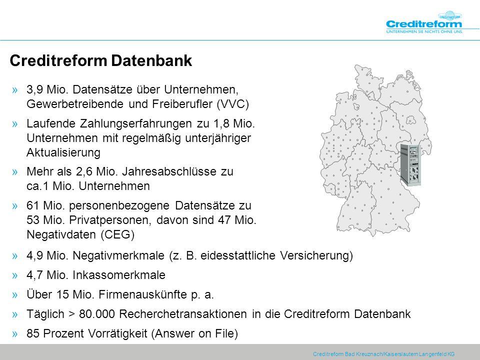 Creditreform Bad Kreuznach/Kaiserslautern Langenfeld KG Creditreform Datenbank »3,9 Mio. Datensätze über Unternehmen, Gewerbetreibende und Freiberufle