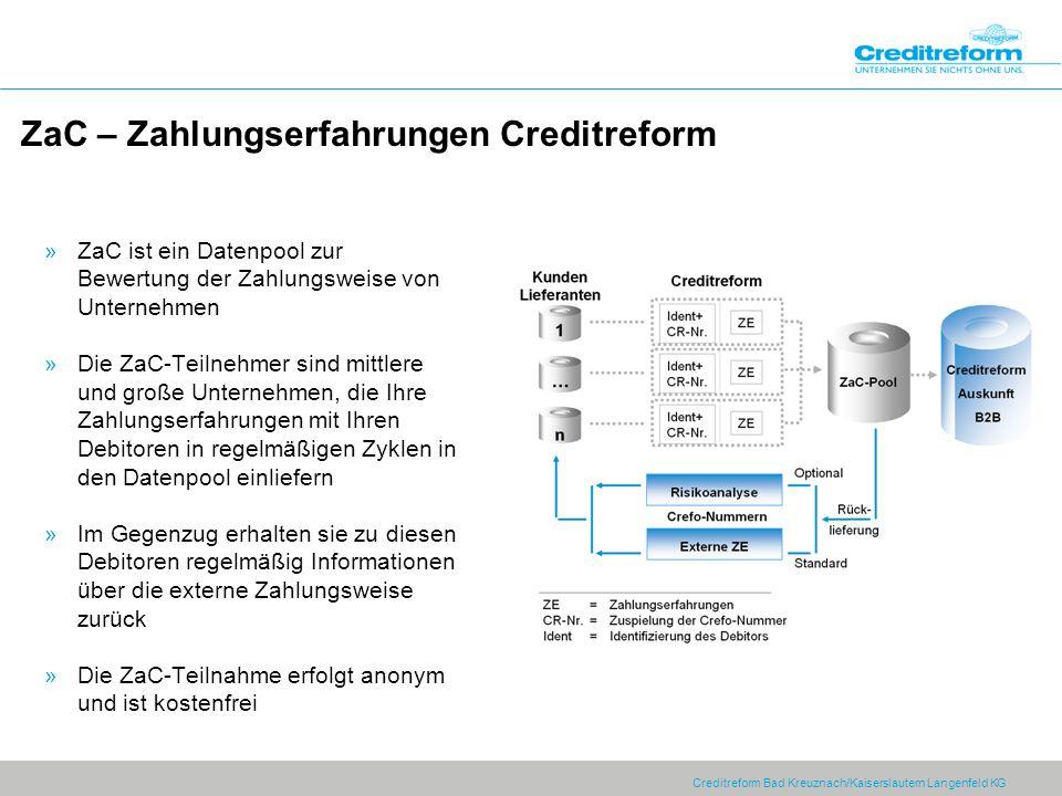Creditreform Bad Kreuznach/Kaiserslautern Langenfeld KG ZaC – Zahlungserfahrungen Creditreform »ZaC ist ein Datenpool zur Bewertung der Zahlungsweise