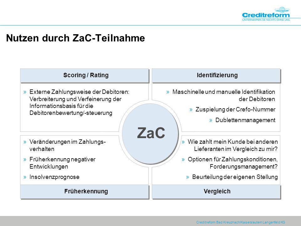 Creditreform Bad Kreuznach/Kaiserslautern Langenfeld KG Nutzen durch ZaC-Teilnahme Identifizierung Scoring / Rating … … ZaC Vergleich Früherkennung »E