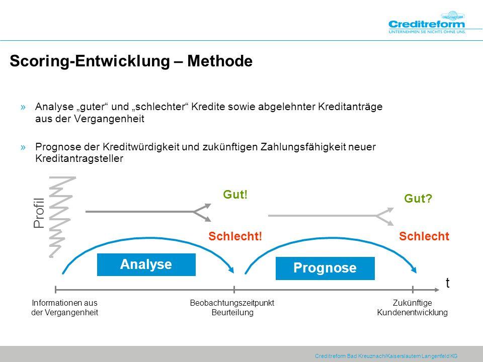 Creditreform Bad Kreuznach/Kaiserslautern Langenfeld KG Scoring-Entwicklung – Methode Profil Analyse t Prognose Gut! Schlecht! Gut? Schlecht Informati