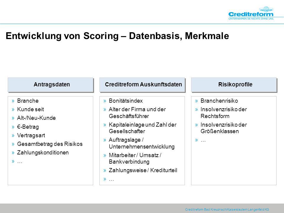 Creditreform Bad Kreuznach/Kaiserslautern Langenfeld KG Entwicklung von Scoring – Datenbasis, Merkmale Creditreform Auskunftsdaten »Bonitätsindex »Alt