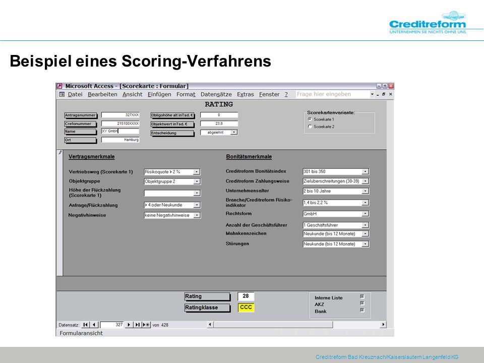 Creditreform Bad Kreuznach/Kaiserslautern Langenfeld KG Beispiel eines Scoring-Verfahrens