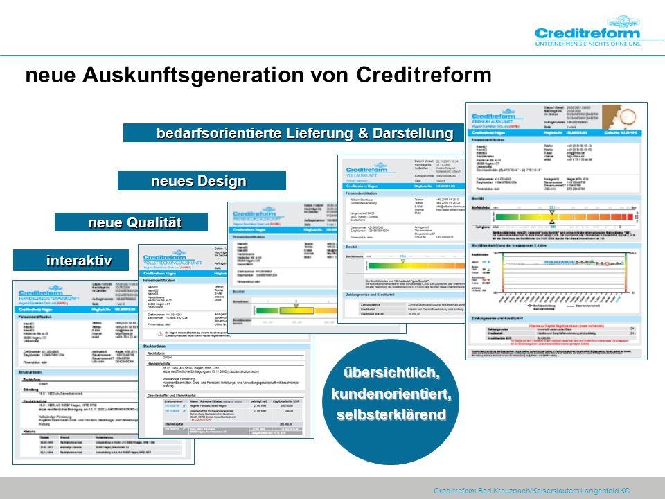 Creditreform Bad Kreuznach/Kaiserslautern Langenfeld KG neue Auskunftsgeneration von Creditreform übersichtlich,kundenorientiert,selbsterklärendübersi