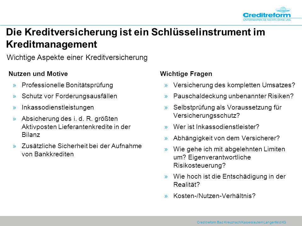 Creditreform Bad Kreuznach/Kaiserslautern Langenfeld KG Die Kreditversicherung ist ein Schlüsselinstrument im Kreditmanagement Nutzen und Motive »Prof