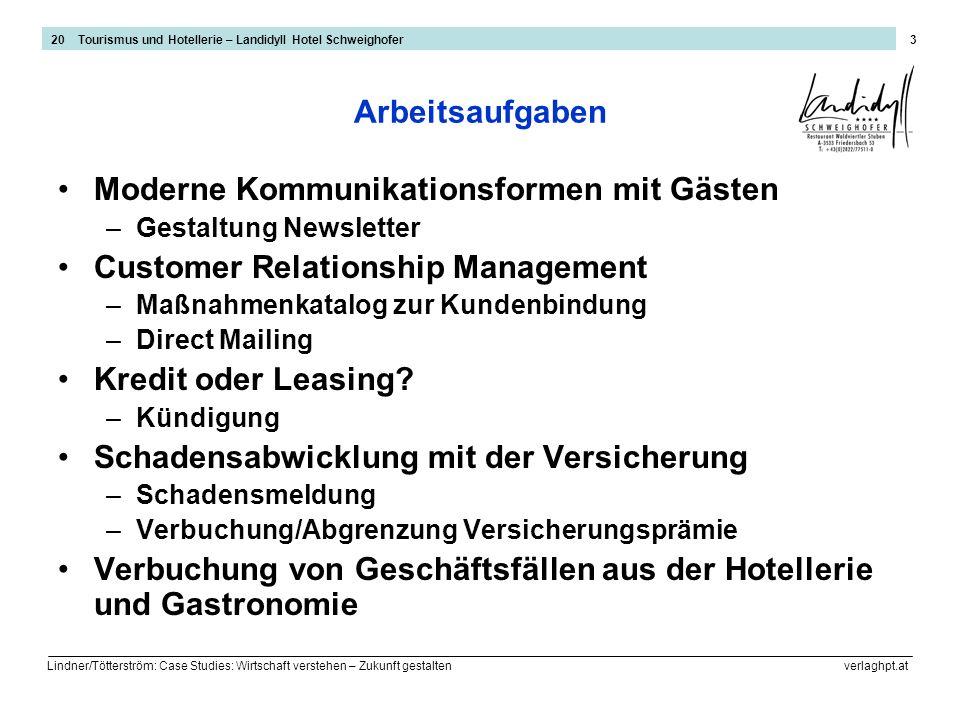 Lindner/Tötterström: Case Studies: Wirtschaft verstehen – Zukunft gestalten verlaghpt.at 4 Schadensabwicklung mit der Versicherung 1/2 20 Tourismus und Hotellerie – Landidyll Hotel Schweighofer