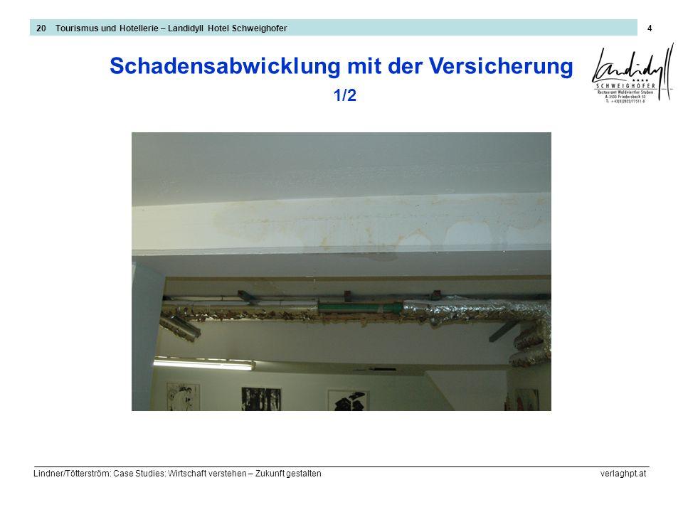 Lindner/Tötterström: Case Studies: Wirtschaft verstehen – Zukunft gestalten verlaghpt.at 5 Schadensabwicklung mit der Versicherung 2/2 20 Tourismus und Hotellerie – Landidyll Hotel Schweighofer