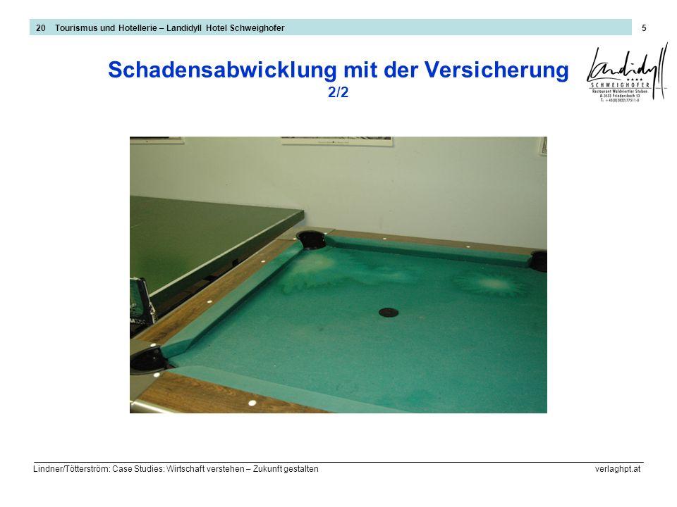 Lindner/Tötterström: Case Studies: Wirtschaft verstehen – Zukunft gestalten verlaghpt.at 5 Schadensabwicklung mit der Versicherung 2/2 20 Tourismus un