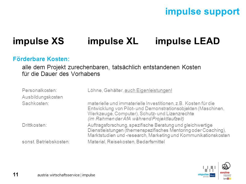 11 austria wirtschaftsservice | impulse impulse XSimpulse XLimpulse LEAD Förderbare Kosten: alle dem Projekt zurechenbaren, tatsächlich entstandenen K
