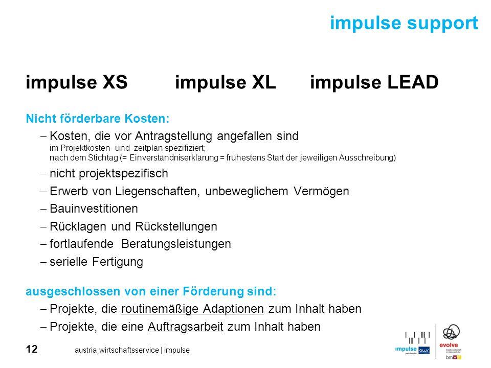 12 austria wirtschaftsservice | impulse impulse XSimpulse XLimpulse LEAD Nicht förderbare Kosten: Kosten, die vor Antragstellung angefallen sind im Pr