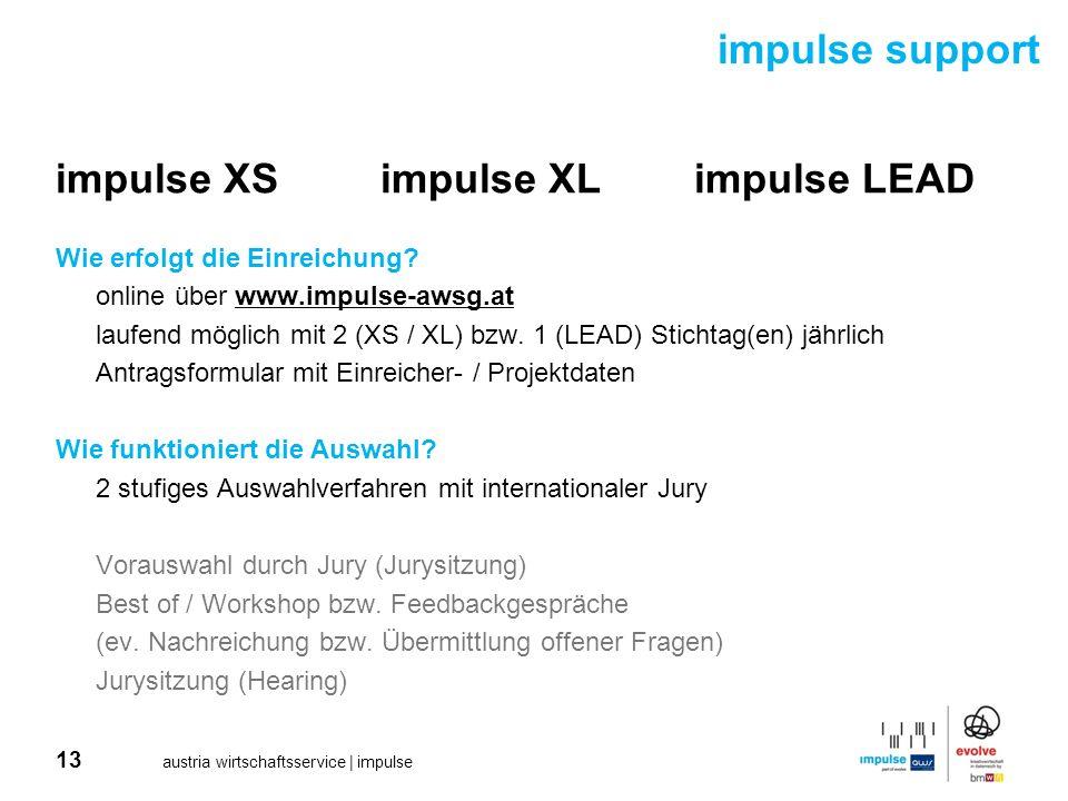 13 austria wirtschaftsservice | impulse impulse XSimpulse XLimpulse LEAD Wie erfolgt die Einreichung? online über www.impulse-awsg.at laufend möglich