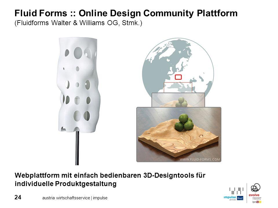 24 austria wirtschaftsservice | impulse Fluid Forms :: Online Design Community Plattform (Fluidforms Walter & Williams OG, Stmk.) Webplattform mit ein