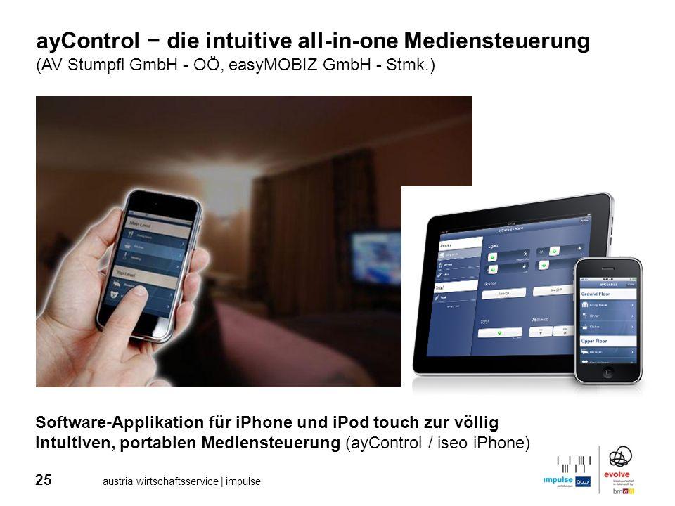 25 austria wirtschaftsservice | impulse ayControl die intuitive all-in-one Mediensteuerung (AV Stumpfl GmbH - OÖ, easyMOBIZ GmbH - Stmk.) Software-App
