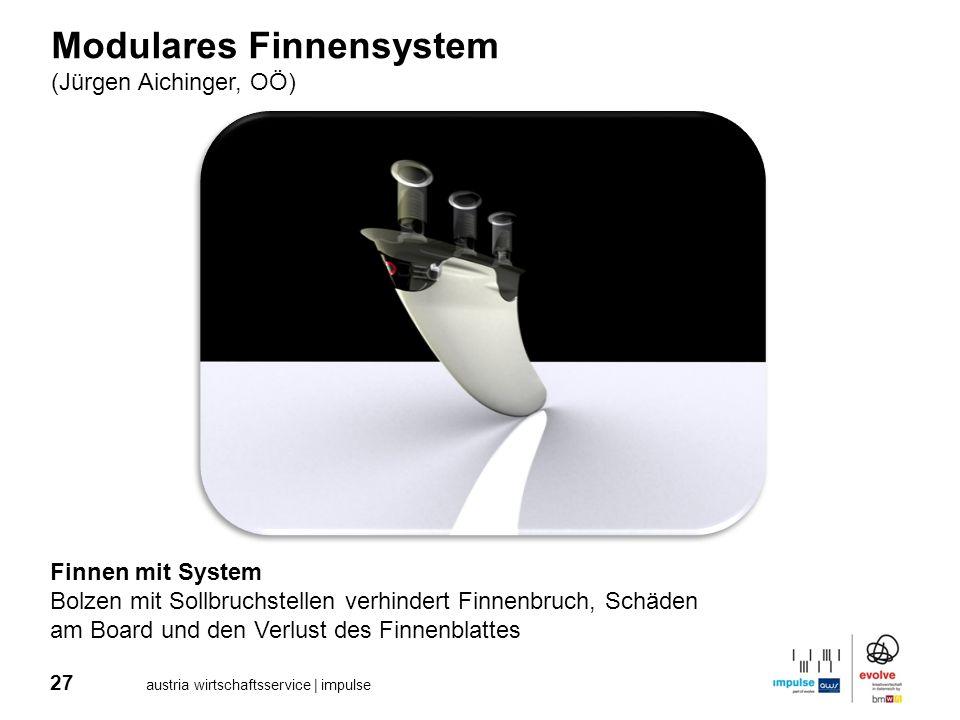 27 austria wirtschaftsservice | impulse Modulares Finnensystem (Jürgen Aichinger, OÖ) Finnen mit System Bolzen mit Sollbruchstellen verhindert Finnenb