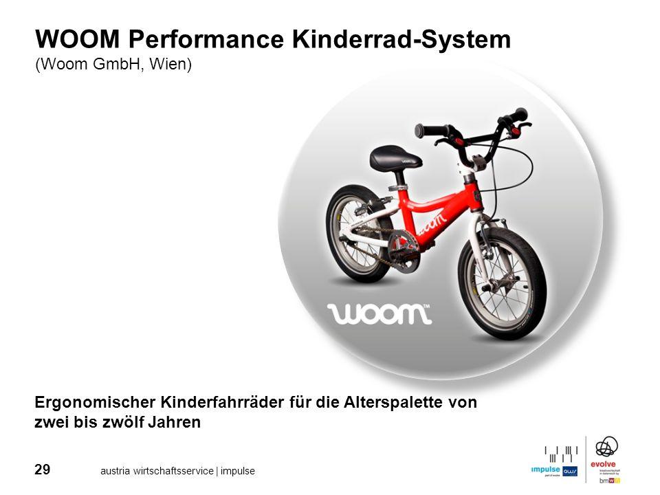 29 austria wirtschaftsservice | impulse WOOM Performance Kinderrad-System (Woom GmbH, Wien) Ergonomischer Kinderfahrräder für die Alterspalette von zw