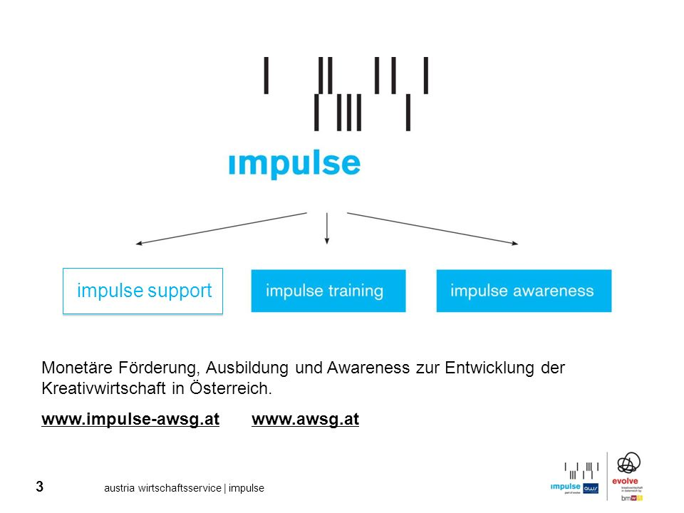 3 austria wirtschaftsservice | impulse Monetäre Förderung, Ausbildung und Awareness zur Entwicklung der Kreativwirtschaft in Österreich. www.impulse-a