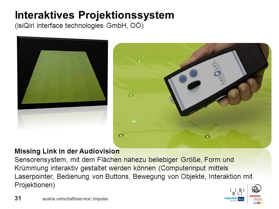 31 austria wirtschaftsservice | impulse Interaktives Projektionssystem (isiQiri interface technologies GmbH, OÖ) Missing Link in der Audiovision Senso