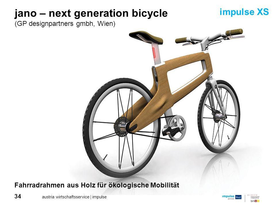34 austria wirtschaftsservice | impulse jano – next generation bicycle (GP designpartners gmbh, Wien) Fahrradrahmen aus Holz für ökologische Mobilität
