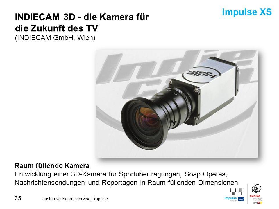 35 austria wirtschaftsservice | impulse INDIECAM 3D - die Kamera für die Zukunft des TV (INDIECAM GmbH, Wien) Raum füllende Kamera Entwicklung einer 3