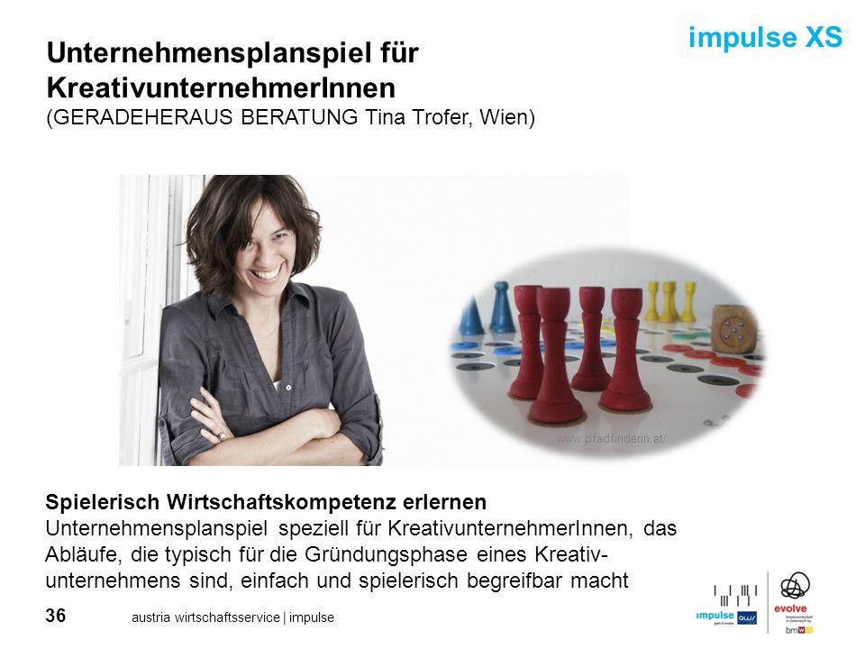 36 austria wirtschaftsservice | impulse Unternehmensplanspiel für KreativunternehmerInnen (GERADEHERAUS BERATUNG Tina Trofer, Wien) Spielerisch Wirtsc