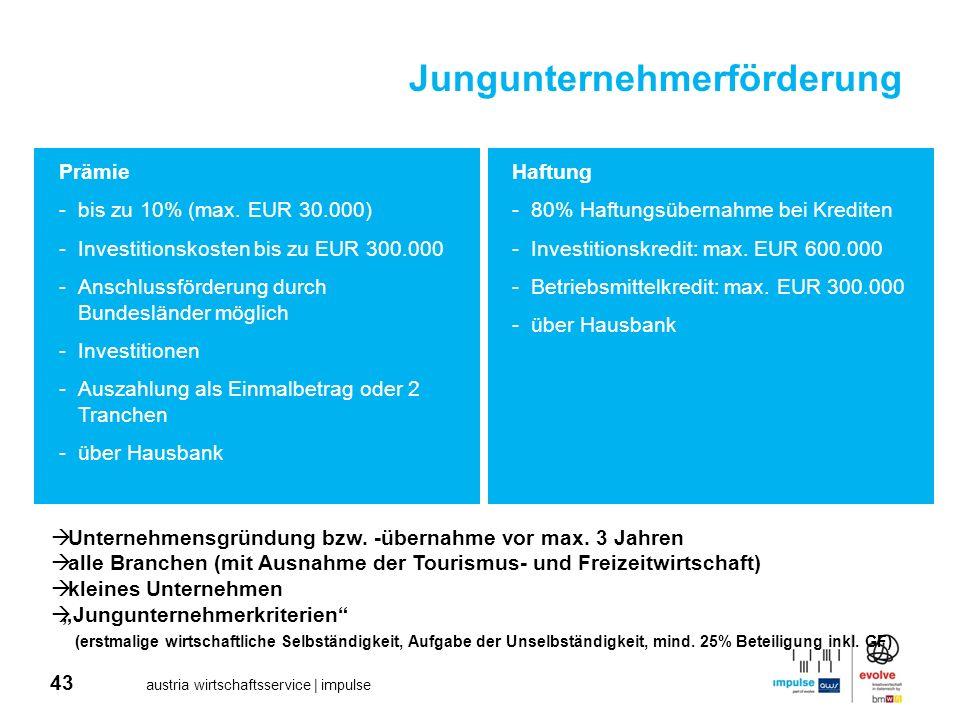 43 austria wirtschaftsservice | impulse Prämie -bis zu 10% (max. EUR 30.000) -Investitionskosten bis zu EUR 300.000 -Anschlussförderung durch Bundeslä