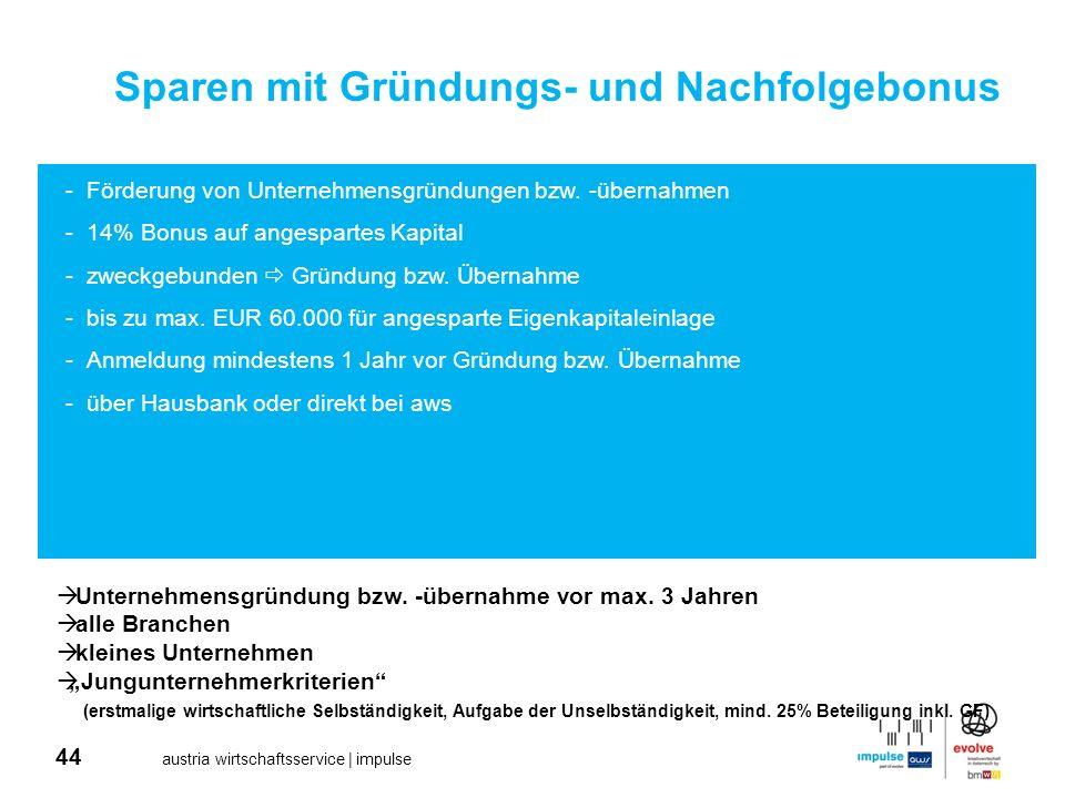 44 austria wirtschaftsservice | impulse Sparen mit Gründungs- und Nachfolgebonus -Förderung von Unternehmensgründungen bzw. -übernahmen -14% Bonus auf