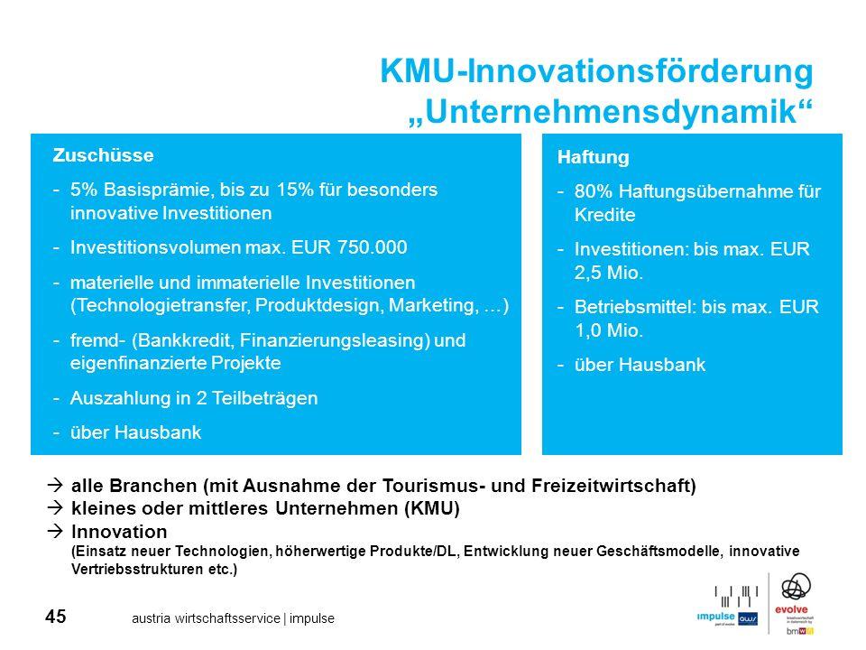 45 austria wirtschaftsservice | impulse KMU-Innovationsförderung Unternehmensdynamik alle Branchen (mit Ausnahme der Tourismus- und Freizeitwirtschaft