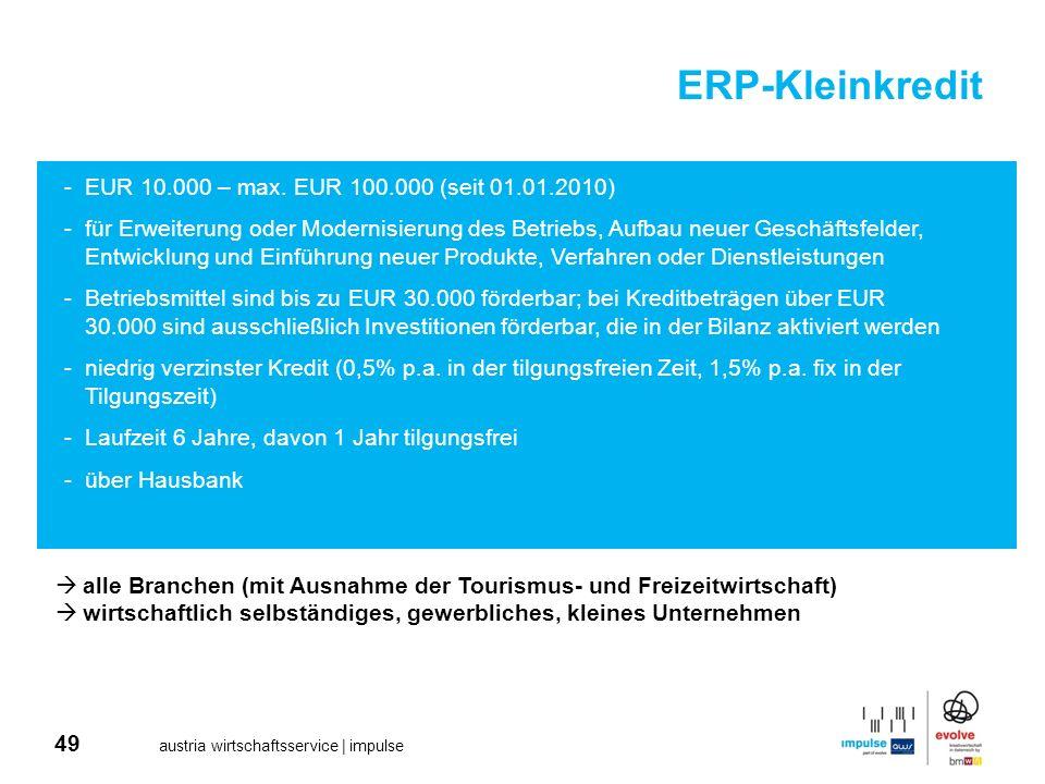 49 austria wirtschaftsservice | impulse ERP-Kleinkredit -EUR 10.000 – max. EUR 100.000 (seit 01.01.2010) -für Erweiterung oder Modernisierung des Betr